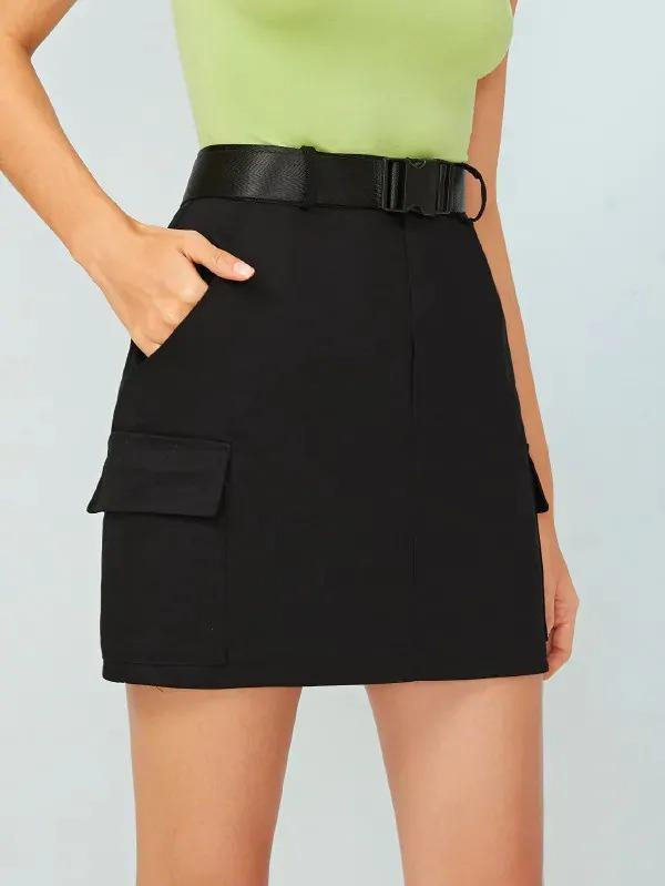 Side Pocket Belted Cargo Skirt