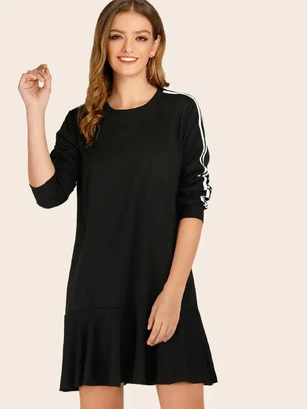 Side Stripe Ruffle Hem Sweatshirt Dress
