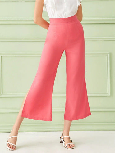Side Zipper Slit Flare Leg Pants