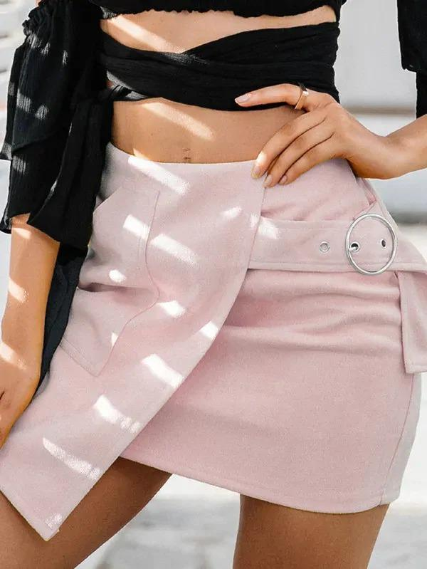 Simplee Asymmetrical Wrap Hem Adjustable Belted Suede Skirt