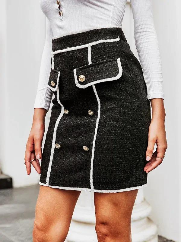 Simplee Contrast Binding Double Button Tweed Skirt