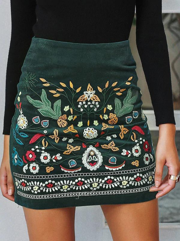 Simplee Floral Embroidered Zip Back Corduroy Skirt