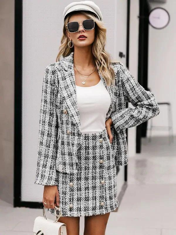 Simplee Plaid Double Button Bodycon Tweed Skirt