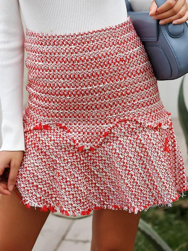 Simplee Ruffle Raw Hem Zip Back Tweed Skirt