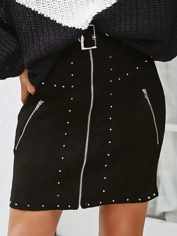 Simplee Zip & Studded Detail Belted Suede Skirt