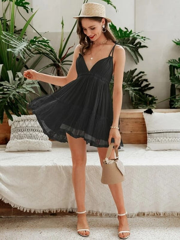 Women Simplee Backless Crisscross Frill Ruffle Hem Dress
