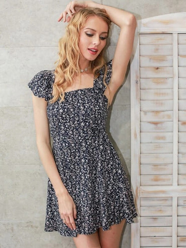Women Simplee Lace Up Back Ditsy Floral Print Dress