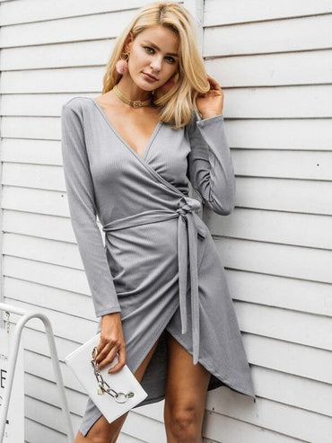 Women Simplee Wrap Belted Ribbed Knit Sweater Dress