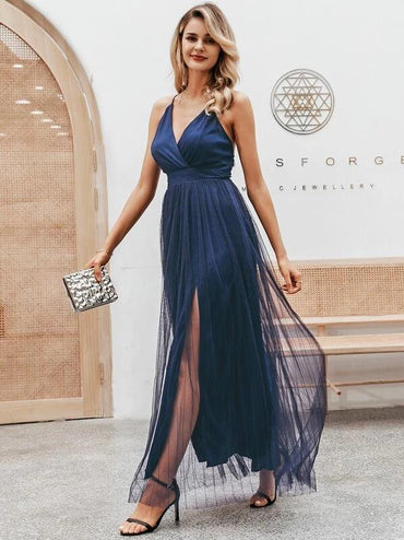 Simplee Crisscross Back Split Mesh Overlay Prom Dress