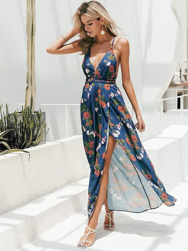 Simplee Floral Print Backless Wrap Split Slip Dress