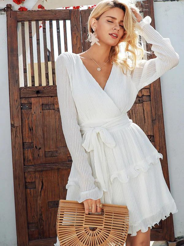 Simplee Surplice Neck Self Belted Ruffle Dress