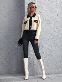 Women Single Breasted Contrast Trim Flap Detail Jacket