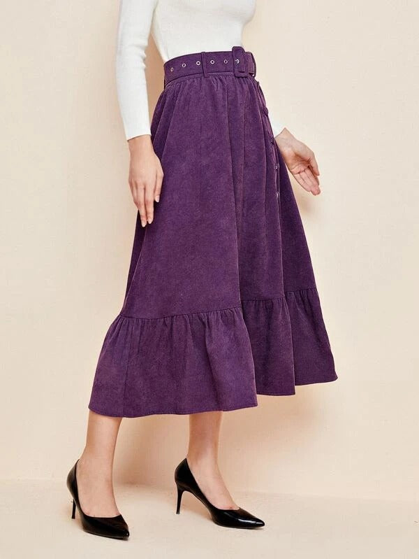 Women Single Breasted Ruffle Hem Buckle Belted Cord Skirt