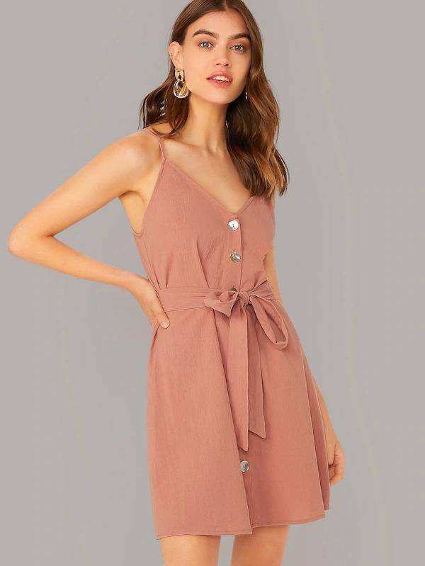 Single Breasted Belted Cami Dress