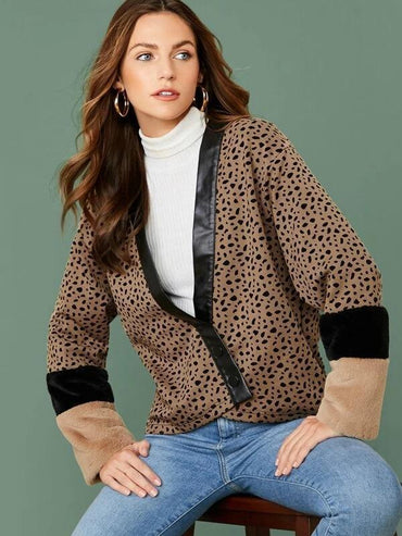 Women Single Breasted Faux Fur Cuff Allover Print Jacket