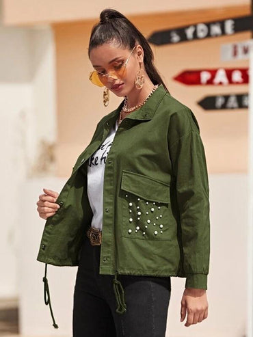 Women Single Breasted Pearl Beaded Utility Jacket
