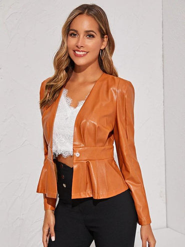 Single Button Patent Leather Peplum Jacket