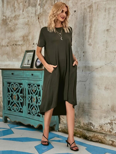 Women Slant Pockets Asymmetrical Hem Tee Dress