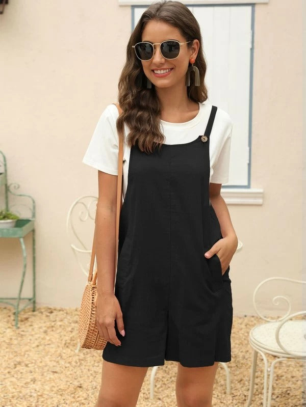 Slant Pockets Buttoned Overall Romper