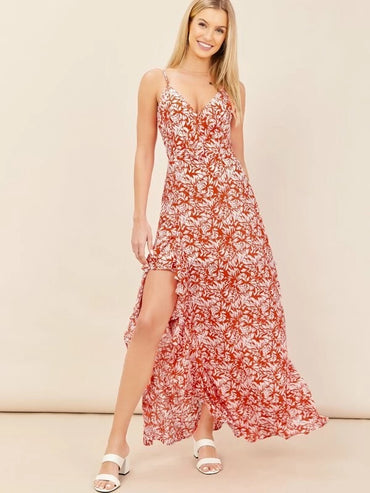 Women Sleeveless Slit Detail Floral Ruffle Maxi Dress