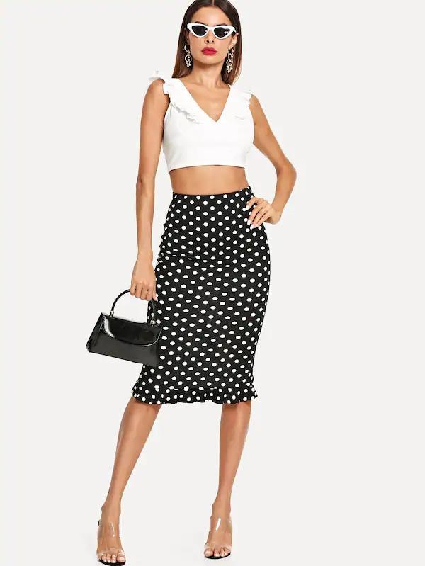 Slit Back Ruffle Hem Polka Dot Skirt