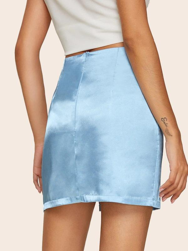 Slit Hem Satin Pencil Skirt