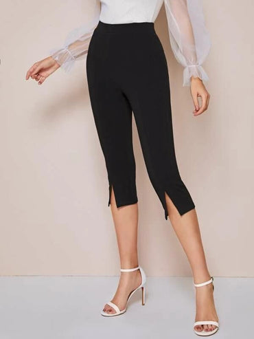 Slit Hem Solid Leggings