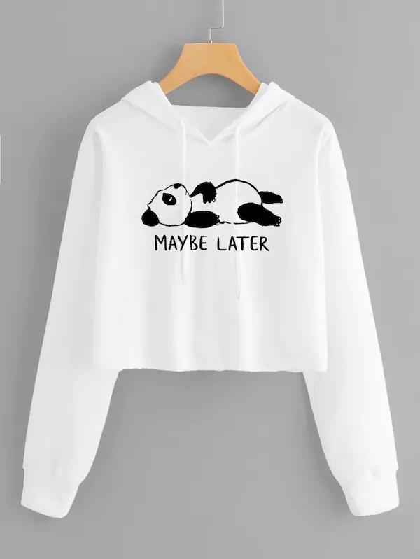 Slogan And Panda Print Drawstring Hooded Sweatshirt