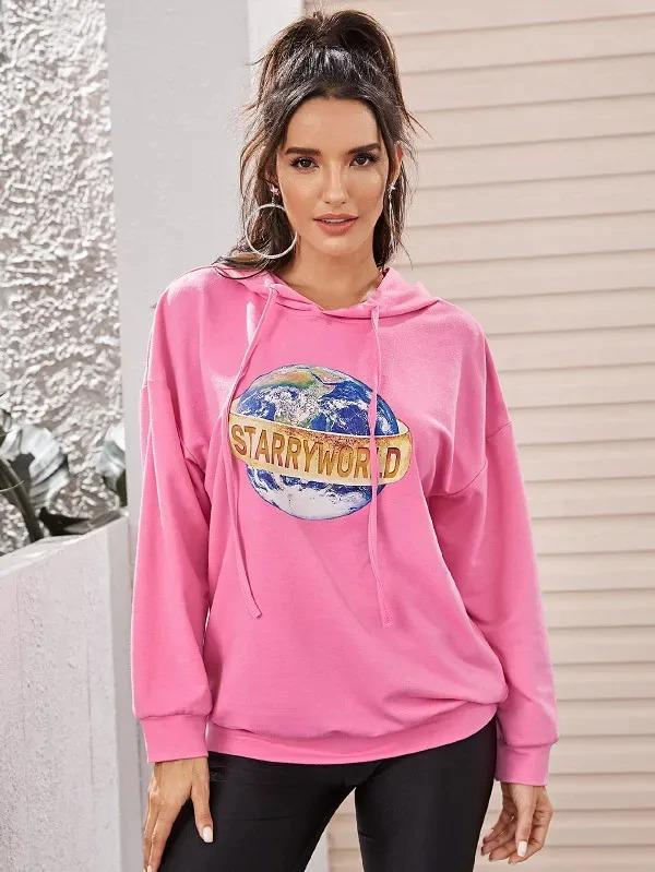 Slogan & Earth Print Hooded Sweatshirt