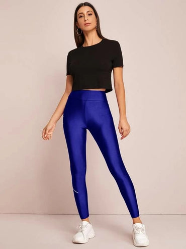 Slogan Graphic Wide Band Waist Leggings