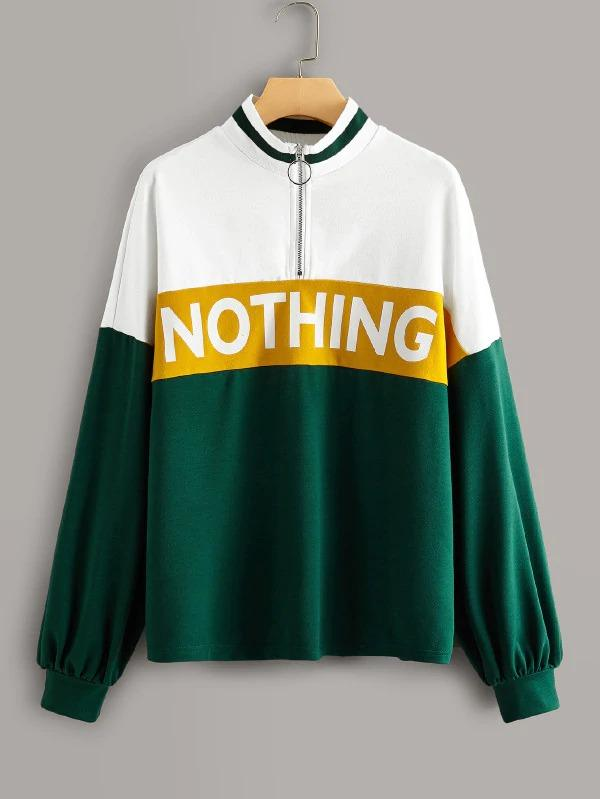 Slogan Print Color-Block Zipper Sweatshirt