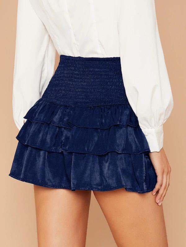 Smocked Waist Tiered Ruffle Mini Skirt