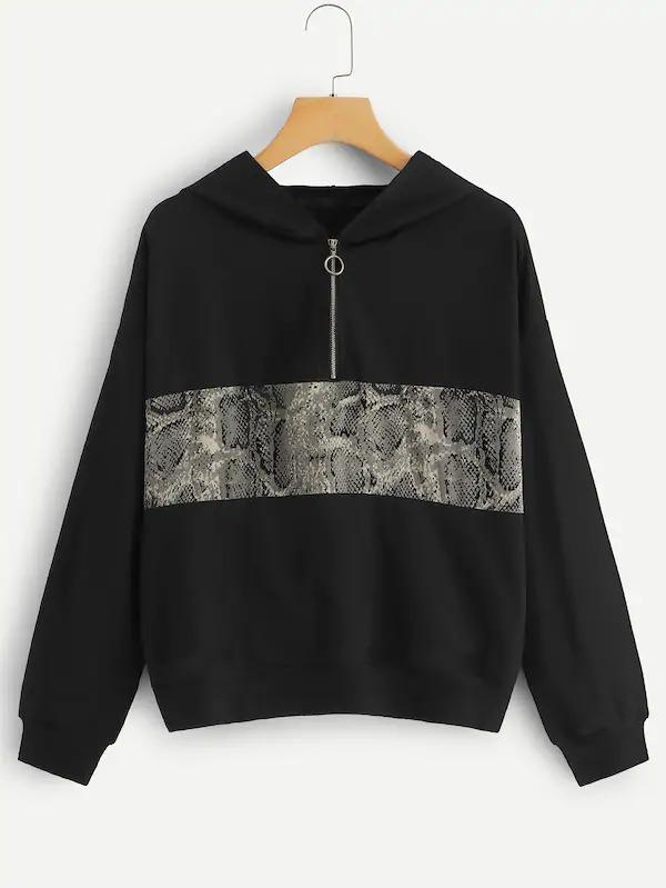 Snake Print Panel Half Placket Hooded Sweatshirt