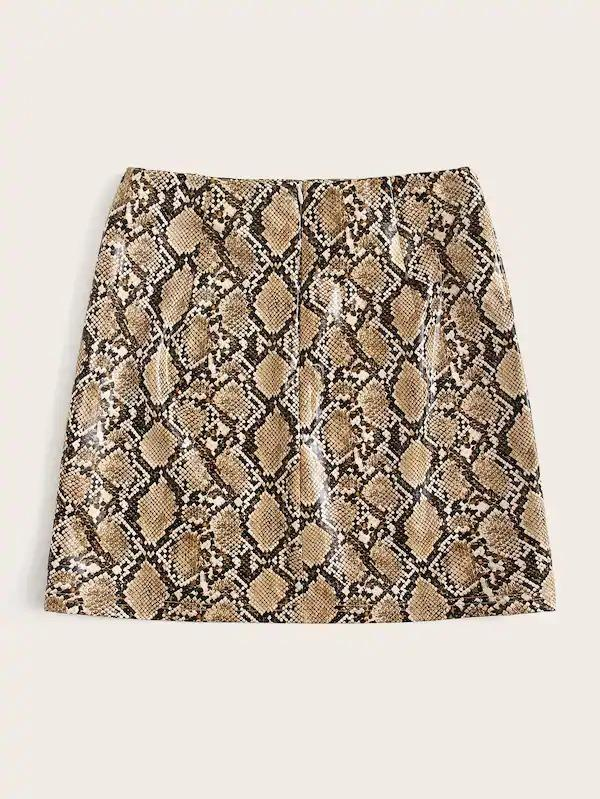 Snakeskin Print Bodycon PU Skirt