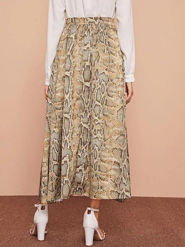 Snakeskin Print Button Through Skirt