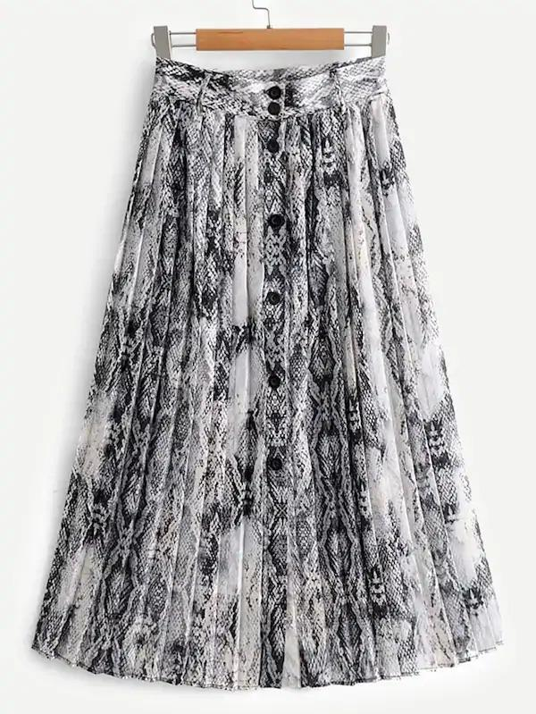 Snakeskin Print Pleated Skirt