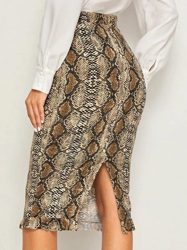 Snakeskin Print Ruffle Hem Split Pencil Skirt