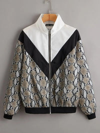 Women Snakeskin Pattern Zip Up Windbreaker Jacket