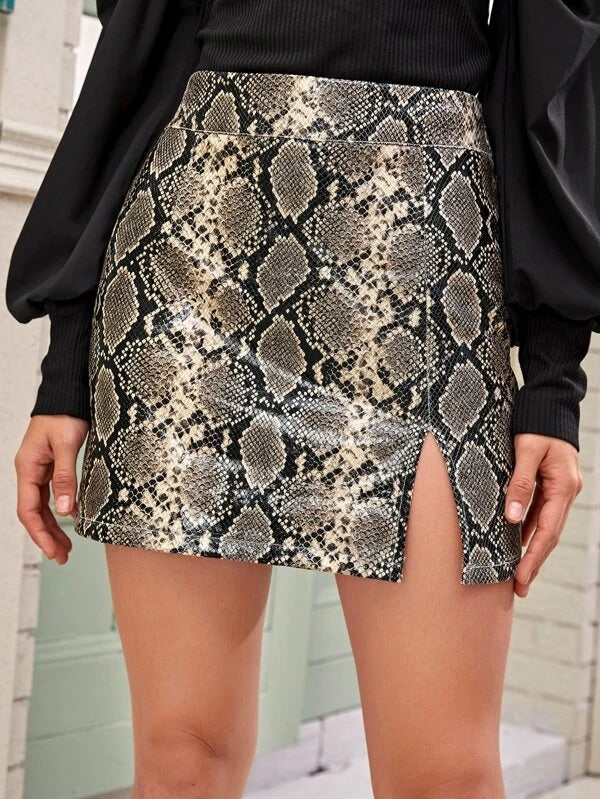 Women Snakeskin Print Side Split Skirt