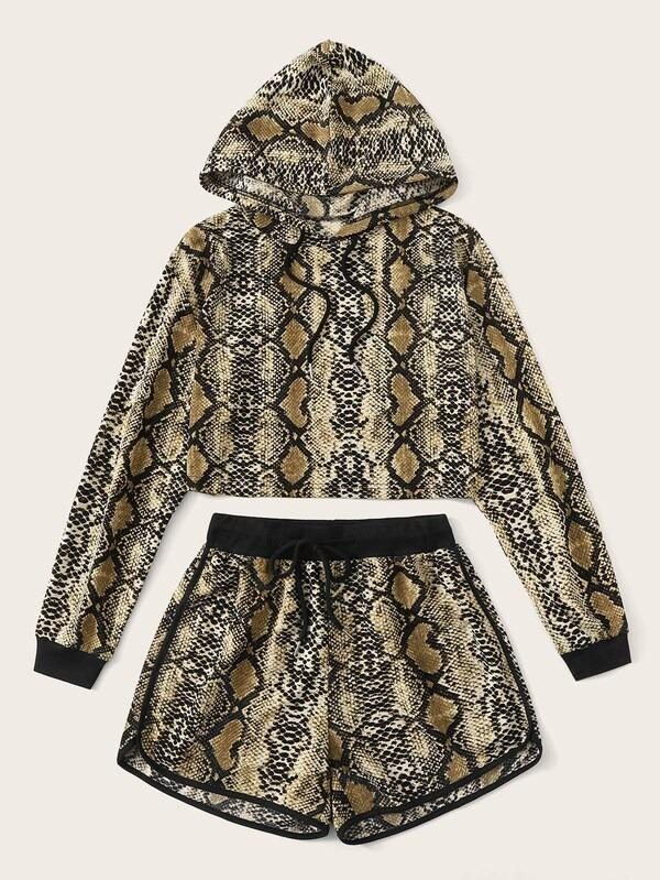Snakeskin Print Hooded Top & Dolphin Shorts Set