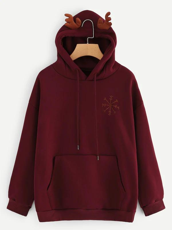 Snowflake And Letter Embroidered Hooded Sweatshirt