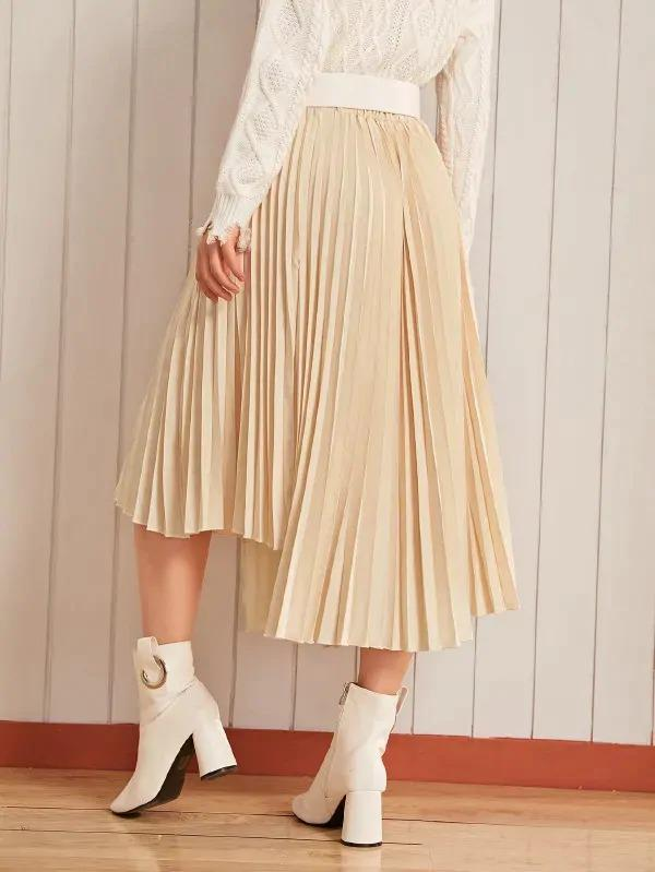 Solid Asymmetrical Belted Pleated Skirt
