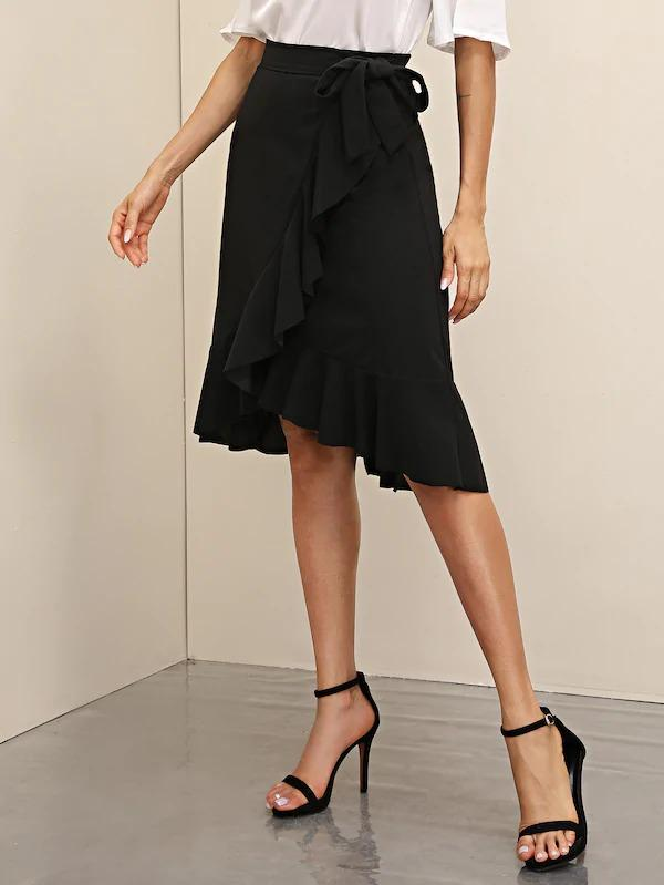 Solid Asymmetrical Ruffle Hem Wrap Knotted Skirt