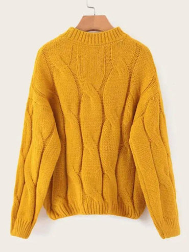 Solid Drop Shoulder Cable Knit Sweater