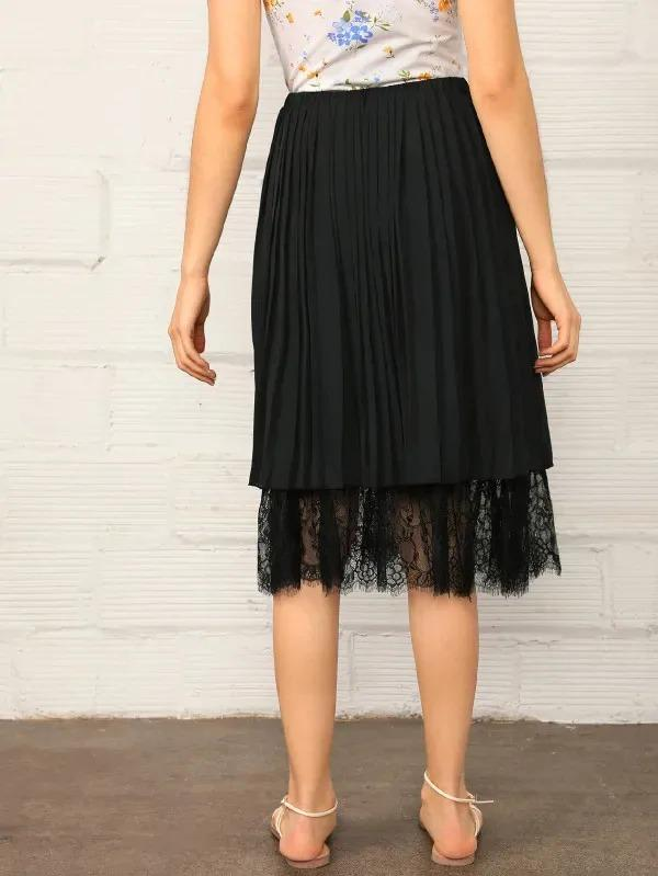 Solid Eyelash Lace Hem Pleated Skirt