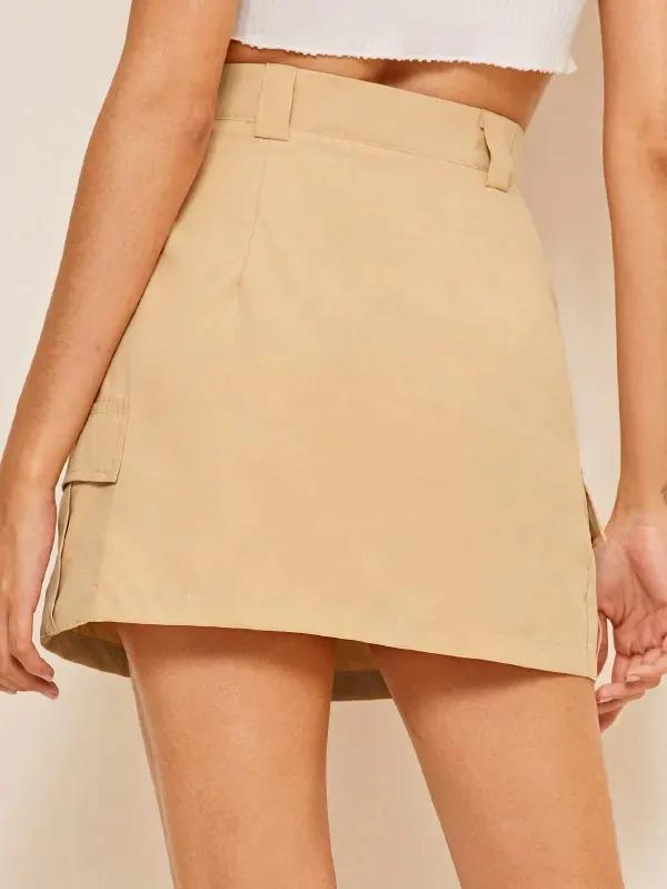 Solid Flap Pocket A-Line Skirt