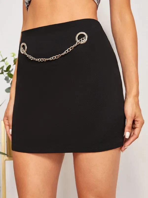 Solid Grommet Chain Detail Skirt