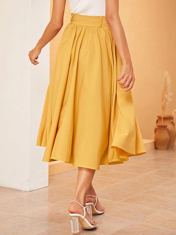 Solid High Waist Belted Flare Skirt