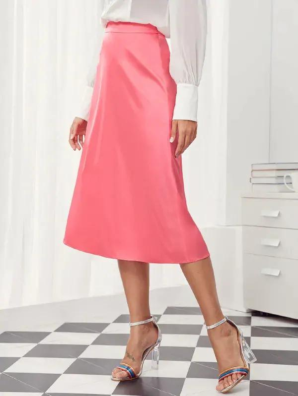 Solid Midi Satin A-Line Skirt