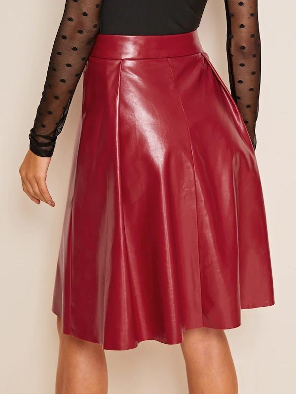 Solid Pleated Detail PU Leather Skirt